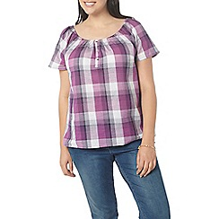 Evans - Purple check bardot top