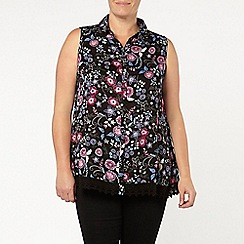 Evans - Black paisley print sleeveless shirt