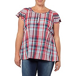 Evans - Pink check print frill sleeve top