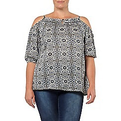 Evans - Blue tile print cold shoulder top