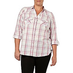 Evans - Pink and white check print shirt