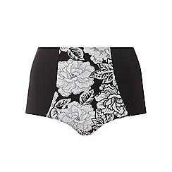 Evans - Monochrome floral print bikini bottoms