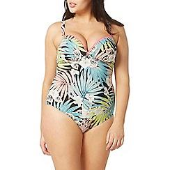 Evans - Blue palm leaf swimsuit
