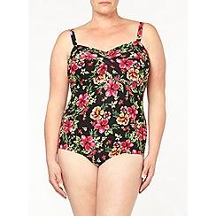 Evans - Black tropical swimsuit