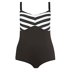 Evans - Black stripe print swimsuit