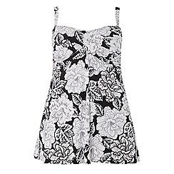 Evans - Monochrome floral print swimdress