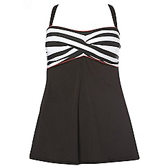 Evans - Black stripe print swimdress