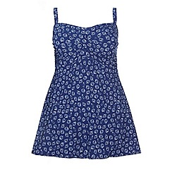 Evans - Navy shell print swimdress