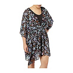 Evans - Black multicoloured floral print kaftan