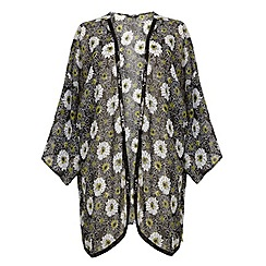 Evans - Daisy print sequin trim kimono