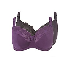 Evans - 2 pack purple and black 'Emily' bras