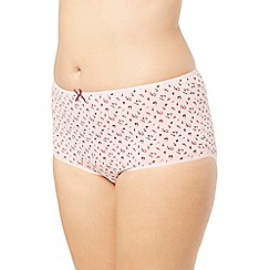 Evans - Pack of three maroon ditsy floral full knickers