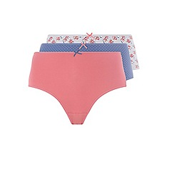 Evans - 3 pack rose and spot print full briefs
