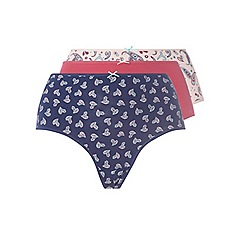 Evans - 3 pack pink paisley heart full knickers