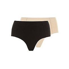 Evans - Black and nude twin pack control knickers