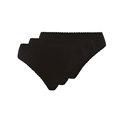 Evans - Black ribbed high leg multipack knickers