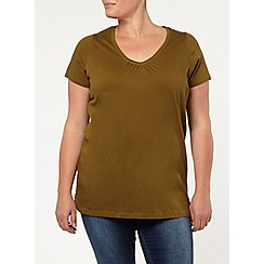 Evans - Khaki v neck top