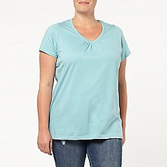 Evans - Aqua blue scoop neck t-shirt