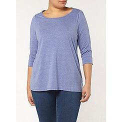 Evans - Blue 3/4 length sleeve marl top