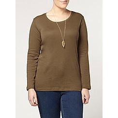 Evans - Khaki long sleeve scoop tee