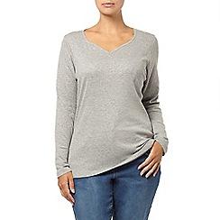 Evans - Grey sweetheart neck basic t-shirt