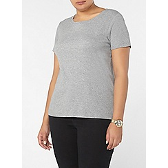 Evans - Grey short sleeve ribbed t-shirt
