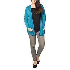 Evans - Teal green pocket cardigan