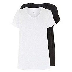 Evans - Black & white 2 pack of v neck tops