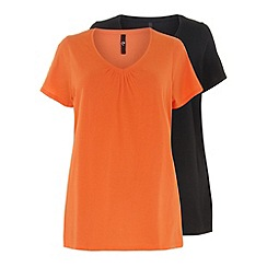 Evans - Black & orange 2 pack of v neck tops