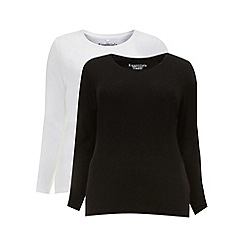 Evans - Black and white two pack long sleeve t-shirts