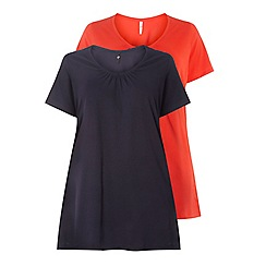 Evans - Navy blue and red v-neck t-shirts