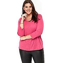 Evans - 2 pack pink and black 3/4 sleeve top