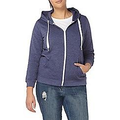 Evans - Blue basic zip front hoodie