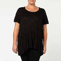 Evans - Black godet short sleeve top