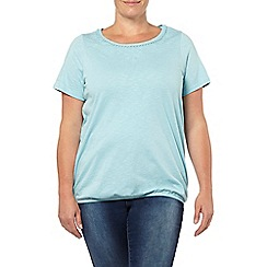 Evans - Aqua embellished neck gypsy top