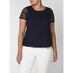 Evans - Navy blue crochet top