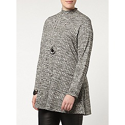 Evans - Grey marl roll neck swing top