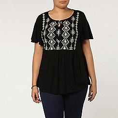 Evans - Black embroidered jersey top