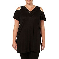 Evans - Black crochet trim v neck top