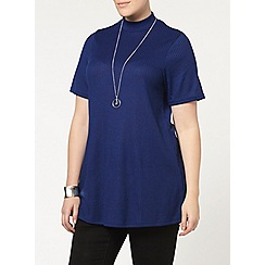 Evans - Blue jersey roll neck top
