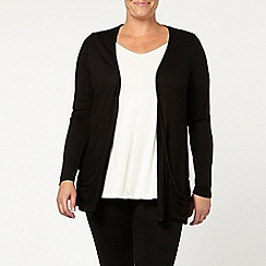 Evans - Black ruched pocket cardi
