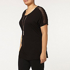 Evans - Black lace insert t-shirt
