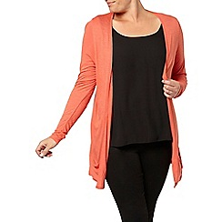 Evans - Orange ruched long line cardi