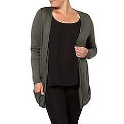 Evans - Green ruched long line cardi
