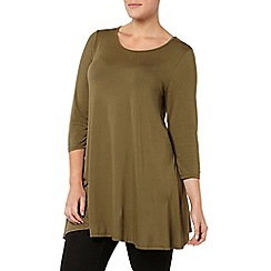Evans - Khaki 3/4 sleeve swing tunic