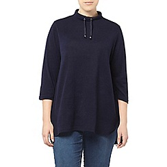 Evans - Navy soft touch funnel neck top