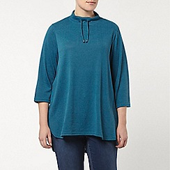 Evans - Green soft touch funnel neck top