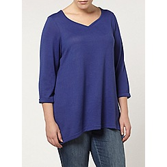 Evans - Blue soft touch hanky hem top