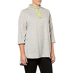 Evans - Grey soft touch funnel neck top