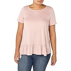 Evans - Pale pink frill front top